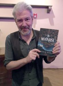 Seamus Egan with my novel By Moonrise